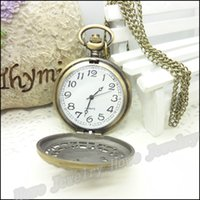 Wholesale Antique 14k Gold Watch Chain - Vintage Owl Patterns Pocket Watches Steampunk Antique Bronze Watch Necklace Chain Clock Friend Gifts 1 pcs 47*68*15mm