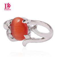 oval yarı değerli taşlar toptan satış-Kadınlar Için Yüzükler Çok Stil Karışık Opal Taş Yüzük Oval Platin Kaplama Çinko Alaşım Platin Yüzük Ile Yarı kıymetli Taş Toptan Toplu