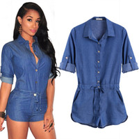Wholesale Denim Long Sleeve Jumpsuit - Jeans Jumpsuit Romper Good Quality Fashion Women Short Bodycon Denim Jumpsuits Summer Style V Neck Long Sleeve Sexy Club Wear Jumpsuits