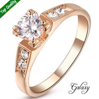 Wholesale Diamonds 1ct - Wedding Rings for Women 2015 New Fashion Rose Gold Plated 1ct CZ Diamond Four Prongs Engagement Ring FREE SHIPPING YH93663