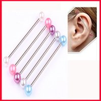 Wholesale Wholesale Industrial Barbells - Wholesale-2 Pcs [earl ear plugs Long Industrial Barbell body Ear Piercing