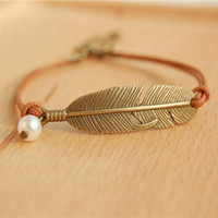 Wholesale Tribal Bracelets For Women - Simple Metal Feather Wristband Bracelets Tribal Simulated Pearl Brown Wax Cord Adjustable Link Leather Bracelet for Women nsl01