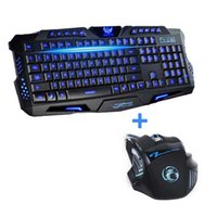 Wholesale Wired Backlit Keyboard - Wholesale-Newest Tri-color USB Wired LED Backlit Laptop Computer Gamer Keyboard Mouse Combo Optical Professional 7 Buttons 5500 DPI Mice