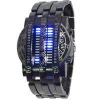 reloj binario led de acero al por mayor-Personalidad de la moda Full Men Watch Acero Azul 28 LED Binary Militar Pulsera Reloj deportivo Reloj de pulsera Relojes para hombres Envío de la gota