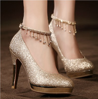 2017Sparkling Golden Lace-up Wedding Chaussures de mariée Cristaux 10cm High Heel Wedding Party Shoes Rhinestones Robe de bal Femmes Chaussures à talons hauts