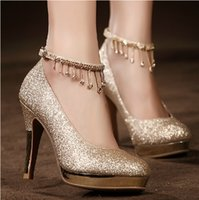 Wholesale Golden Prom Shoes - 2017Sparkling Golden Lace-up Wedding Bridal Shoes Crystals 10cm High Heel Wedding Party Shoes Rhinestones Prom Dress Women High-heeled Shoes