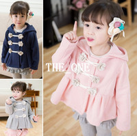 Wholesale Girls Double Breasted - autumn winter children coat kids coat flower hooded kids double breasted coat sweatshirts hooded girls kids fleece hoodies free shipping