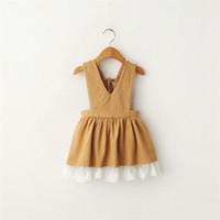 Wholesale Autumn Suspender Dress - Everweekend Kids Girls Lace Frilled Halter Party Dress Suspender Dress V Neckline Candy Color Dress 5pcs lot Wholesale