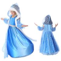 Wholesale Dress Blue Cosplay - frozen snow queen elsa costume anime cosplay dress frozen elsa dress blue frozen princess elsa dress with hooded cape(1701039)