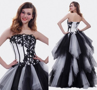 Wholesale High Quality Quinceanera Dresses - Classic White and Black Quinceanera Dresses High Quality A-line Floor Length Pageant Gowns for Girls with Appliques Tiered Ruffles Prom Gown