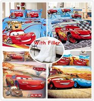 Brand new Kinder-Comic-Auto Tröster Bettwäsche-Sets 5Pcs 100% Baumwolle, Single Doppel Königin König Duvet / Bettbezug Bettlaken Set
