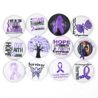 Wholesale Bracelets Free Shipping Purple - Free Shipping Noosa Chunky Snaps Button DIY Interchangeable Purple Ribbon Lupus Awareness Cabochon Snaps Buttons for Bracelet Rings