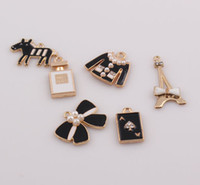 Wholesale Enamel Bow - Crystal Rhinestone Enamel Bow Charms Eiffel Tower Clothing Poker Pendant Charms Fit DIY Bracelet Jewelry Findings JJAL ZBE282