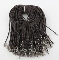 örme örgüler toptan satış-100 adet / grup 9 Renkler Örgülü Siyah Kraliyet Mavi Pembe Deri Toka Örgü Zincirleri Kolye 0.3x46 cm Takı DIY