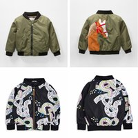 Wholesale european american music - Boys Girls Thickening Jacket Rainbow Music Printed 3D Horse Embroidered Winter Outdoor Coat Flight Suit Bomber Jacket Winter 1-5T