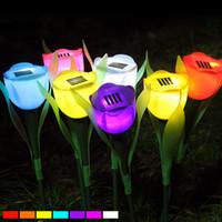 Wholesale Tulips Flower Lamp - Solar lamp Tulips Style Outdoor Yard Garden Path Way Solar Power LED Tulip Landscape Flower Lamp Lights