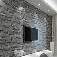 ingrosso carte in pietra-Moderno 3D tridimensionale design carta da parati rotolo di pietra mattoni sfondo muro vinile carta da parati soggiorno wallcovering W025