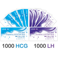 tiras de prueba de embarazo al por mayor-DHL libre o Fedex LOVEXOK 1000PCS médico embarazo tira de prueba + 1000pcs LH ovulación tiras reactivas prueba FDA CE