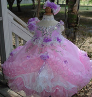 Wholesale Cupcake Pageant Dresses Gold - 2015 New Beautiful Flower Girl Dresses with Crystals Beads Pink Little Girls Pageant Cupcake Dresses Handmade Flowers