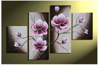Wholesale Modern Abstract Huge Wall Ornaments - MODERN ABSTRACT HUGE WALL ORNAMENTS OIL PAINTING Flower On Canvas + free gift