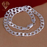Wholesale Silver Chains For Men 12mm - 2017 Hot Sale 925 Silver Plated 12MM 20inches Figaro Chain Necklace Cool Party Gifts for Men