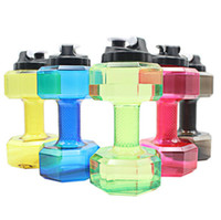 Wholesale new dumbbells resale online - 200PCS Dumbbells Shaped Plastic Big Large Capacity Gym Sports Water Bottle Outdoor Fitness Bicycle Bike Camping Cycling Kettle New
