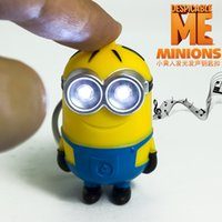 Wholesale Despicable I - 2015 Movie Minion LED Light Keychain Key Chain Keyring Flashlight Sound I LOVE YOU Despicable Me double eye one eye 2 style