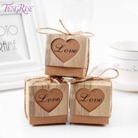 Wholesale rustic wedding favors - FENGRISE 50pcs Heart Candy Box Vintage Wedding Gifts For Guests Kraft Boxes With Rustic Burlap Twine Decoration Wedding Favors
