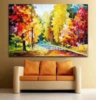 ingrosso vernice a olio con coltelli-Palette Knife Oil Painting Bella foresta di autunno Bright Road Landscape Immagine stampata su tela per la decorazione della casa Wall Art Home