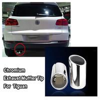 Wholesale Wholesale Chrome Exhaust - New CHROME EXHAUST MUFFLER TIP 2pcs lot For Volkswagen VW for Tiguan 2009 2010 2011 2012 2013
