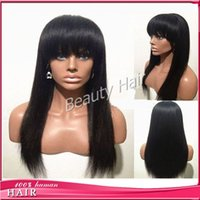 Wholesale Human Hair Bangs Frosted - Full lace human hair wigs with bangs full lace human hair wigs for black women lace front wig with baby hair