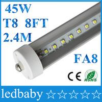 ampoules fluorescentes t8 à une broche achat en gros de-8 pieds ont mené le tube simple de la goupille LED de la goupille simple t8 FA8 de 8ft allume les ampoules de tube fluorescent de 45W 4800Lm 2400MM 8feet LED 85-265V