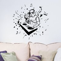 Wholesale Music Vinyl Wall Art - New Arrival Star Wars with Music Note Wall Art Mural Decor Sticker Listening Music Wallpaper Decal Poster Wall Applique Art Graphic