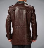 Wholesale Locomotive Fashion Genuine Leather Jacket - Fall-Free shipping !! Men's Brand Winter fashion Cowhide Genuine leather FUR Locomotive leather Jacket Coat   M-XXXL
