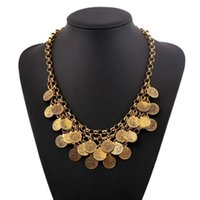Wholesale Belly Dance Necklace Coin - Bohemian Jewelry Chunky Choker Necklace Women Coin Tassels Statement Necklaces Turkish Gypsy Ethnic Tribal Belly Dance Wholesale 6 Pcs