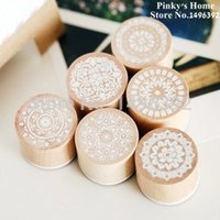 Wholesale Rubber Stamping Wholesale - 6pcs set DIY Funny Wood Craft Stamp Assorted Retro Vintage Floral Lace Pattern Round Wood Rubber Stamp Scrapbooking Stamp Set