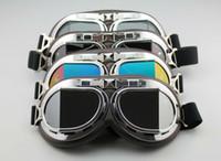 lunettes claires achat en gros de-Aviateur pilote croiseur moto scooter VTT lunettes lunettes T08Y cinq lentilles clair fumée colorée argent jaune