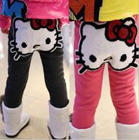 Wholesale Tight Dresses For Kids - Wholesale-Winter spring Children Girls Leggings Cartoon KT Velvet Inside Leggings Soft Cotton Pants For Dress Kids Casual legging