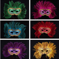 Wholesale Child Feather Costumes - Women feather sequins gem Italian masquerade mask 2016 lady Halloween MARDI GRAS carnival Easter Christmas party costume mask drop shipping