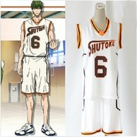 Wholesale Kuroko Cosplay Jersey - 2 styles Anime Kuroko no Basuke SHUTOKU No. 6 10 Midorima Shintaro Basketball Jersey Cosplay Costume Unisex Sports Wear Uniform emboitement