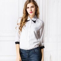 Wholesale Double Collar Shirt Women - Fashion Women White blouse shirts patchwork clash double layer collar shirts blouse three quater sleeve chiffon 1032