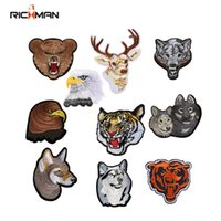 Richman Animal Pattern Wolf Dog Eagle Tiger Bordado Patches Iron On Vestuário Calças Sacos 10pcs / Lot