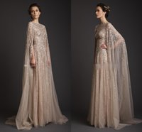 Wholesale Decent Gowns - Real Image!Krikor Jabotian Stunning Sexy Decent Scoop Sequin A-line Formal Gown Sweep Train With Cloak Saudi Arabia Celebrate Prom Dresses
