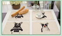 Wholesale Painting Mat - Cute Dog Hand-painted Placemat Table Mat For Tables Decoration Heat-insulation Linen Kitchen Dining Pads Free Shipping