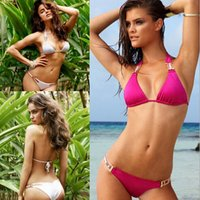 Wholesale Top Fashion Swimwear - New Fashion Top Vintage Bikini sets sexy Halter belt bandage panelled swimwear women push up beachwear swimming suit 5pcs lots