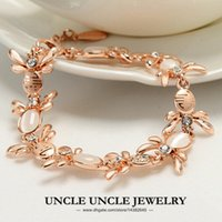 Wholesale Opal Inlay Bracelet - Rose Gold Color High Quaity Rhinestone & Opal Inlaid Lovely Bees Element For Love Style Lady Bracelet Wholesale