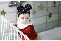Wholesale Wired Cute Bunny Ears - Baby Hair ornaments Cute Polka Dot Bunny Ear Headbands Girl Fashion Headwear F0192 Have Copper wire