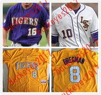 546757de8a8 Custom LSU Tigers College Baseball Stitched Any Name Number CWS Purple Gold  White Mens 17 LeMahieu 8 Bregman Nola Gausman Jerseys S-4XL ...