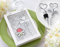 Wholesale White Bride Black Groom Wedding - Couple bride and groom wine bottle opener and Stopper Sets for Wedding Faovrs Gifts 200pcs =100set