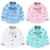 Wholesale Summer Striped Shirts For Boys - High quality factory supply Comfort Boys Plane embroidery long sleeve shirt Striped sleeve Cotton t shirts for boy Kids Tops 2016 spring
